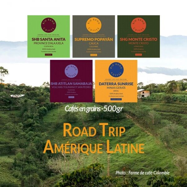 Coffret Road Trip en Amérique Latine 5x500g - Big Bang Coffee